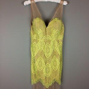 Choies yellow and sheer tan lace dress